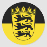 Baden-Württemberg (State, Lesser Arms), Germany Round Stickers