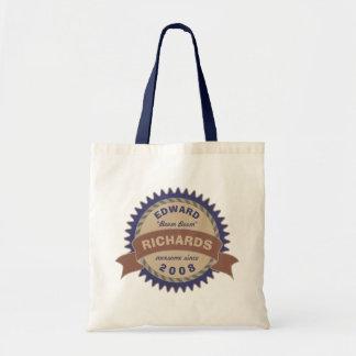 Badge Banner Monogram Brown Blue Birthday Logo Tote Bag