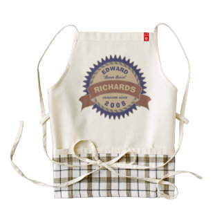 Badge Banner Monogram Brown Blue Birthday Logo Zazzle HEART Apron