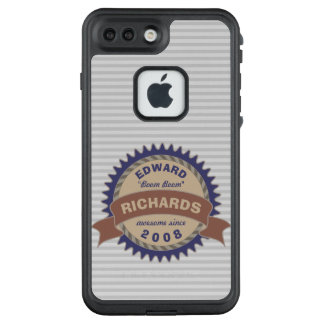 Badge Banner Monogram Brown Blue Gray Logo Stripes LifeProof FRĒ iPhone 7 Plus Case
