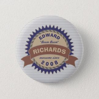 Badge Banner Monogram Brown Blue Gray Logo Stripes Pinback Button