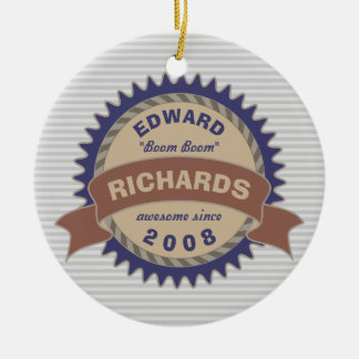 Badge Banner Monogram Brown Blue Logo Gray Stripes Ceramic Ornament