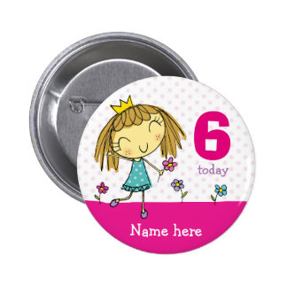 ♥ BADGE ♥ Birthday Pink Princess any age & name Button