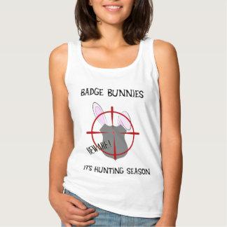 Badge Bunnies Beware Shield Badge Basic Tank Top