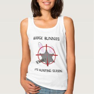 Badge Bunnies Beware with 6 Point Star Badge Basic Tank Top