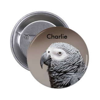 Badge Congo African Grey Gray Parrot Button
