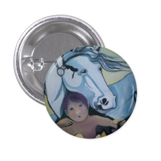 Badge: Cupid and his horse. Pinback Button