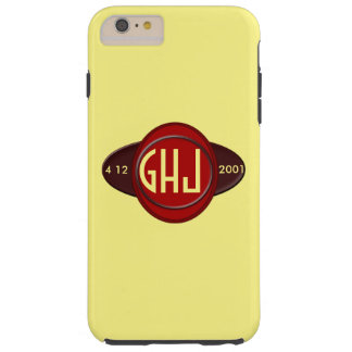 Badge graphic dark reds add date monogram or name tough iPhone 6 plus case