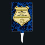 """Badge Marble Police Graduation/Retirement Party Cake Topper<br><div class=""""desc"""">Blue marble background represents stability and strength.  Gold badge customized with the retiring or graduating officer&#39;s name and city.  Invite guests in style with this beautiful masculine party decorations and decor.</div>"""