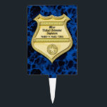 "Badge Marble Police Graduation/Retirement Party Cake Topper<br><div class=""desc"">Blue marble background represents stability and strength.  Gold badge customized with the retiring or graduating officer&#39;s name and city.  Invite guests in style with this beautiful masculine party decorations and decor.</div>"