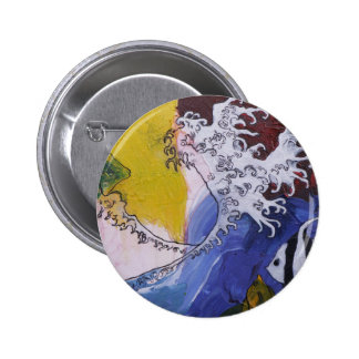 Badge of a painting inspired by Hokusai Pinback Button