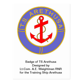 Badge of TS Arethusa Postcard