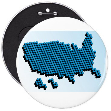 USA Themed Badge with 3D blue USA map Button
