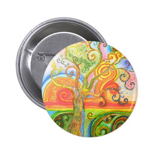 Badge with Psychedelic Colourful Tree Design Pinback Buttons