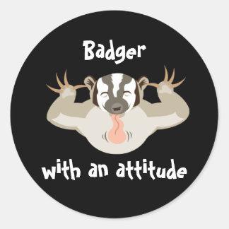 Badger_Badger que acosa con una actitud Pegatina Redonda