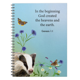 Badger, Cornflowers and Red Admiral Butterfly Spiral Notebook