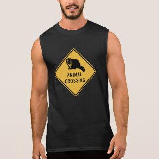 Badger Crossing Traffic Warning Sign Wyoming US Sleeveless T-shirt