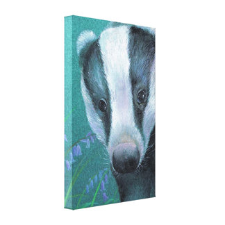 Badger in the bluebell woods canvas print