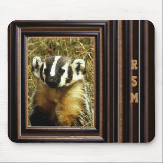 Badger monogrammed mouse pad