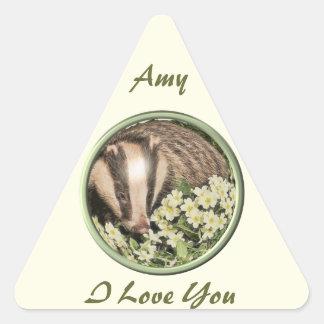 Badger on the Primrose Bank Triangle Sticker