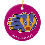 Hand shaped Badger ornament
