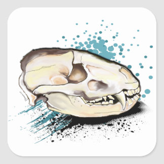 Badger Skull Square Sticker