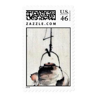 Badger tea kettle Ukiyoe Postage Stamp