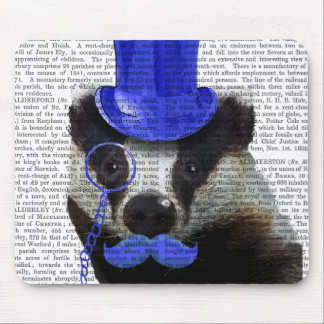 Badger with Blue Top Hat and Moustache Mouse Pad