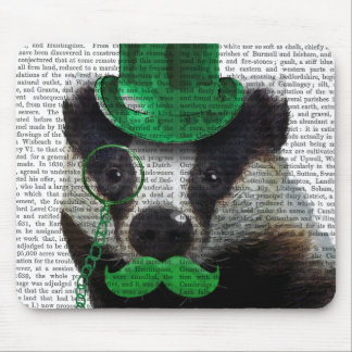 Badger with Green Top Hat and Moustache Mouse Pad