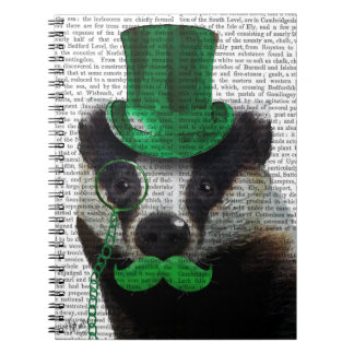 Badger with Green Top Hat and Moustache Spiral Notebook