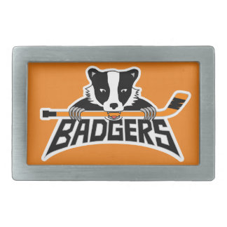 Badgers Hockey Logo Rectangular Belt Buckle