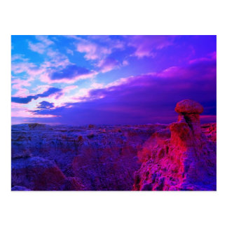 Badlands colorfull sky of blue and red postcard