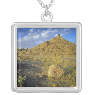 Badlands formations at Dinosaur Provincial Park Silver Plated Necklace