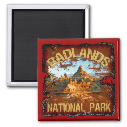 Badlands National Park 2 Inch Square Magnet
