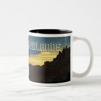 Badlands National Park, Rocky Silhouette, Sunset Two-Tone Coffee Mug