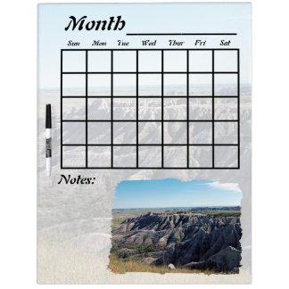 Badlands South Dakota Calendar Dry-Erase Whiteboard
