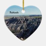 Badlands, South Dakota Double-Sided Heart Ceramic Christmas Ornament