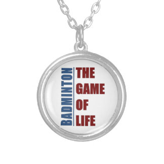 Badmington the game of life silver plated necklace