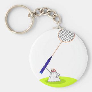 Badminton Basic Round Button Keychain