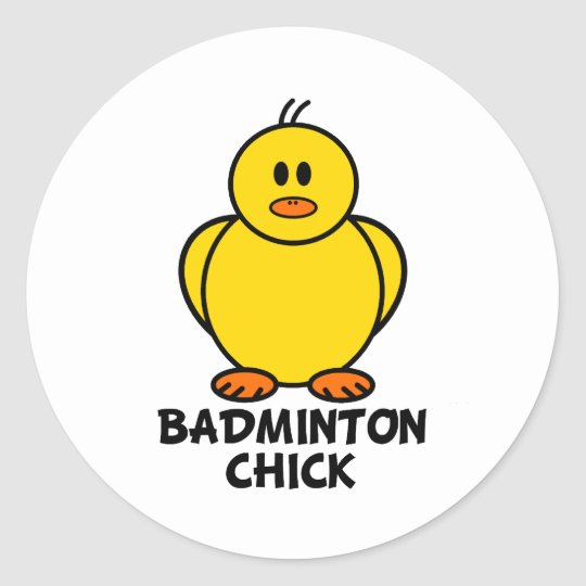 Badminton Chick Classic Round Sticker