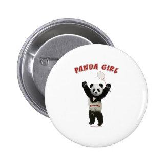 Bádminton del chica de la panda pin redondo de 2 pulgadas