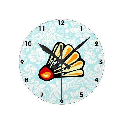 Bádminton del damasco del trullo reloj redondo mediano