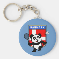 Basic Button Keychain with Danish Badminton Panda design
