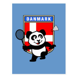 Postcard with Danish Badminton Panda design