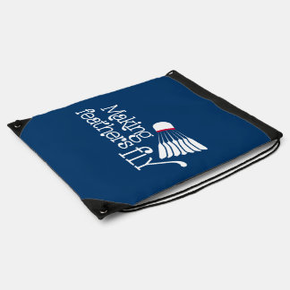 Badminton feather fly blue red drawstring bag