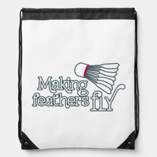 Badminton feather fly outline white drawstring bag