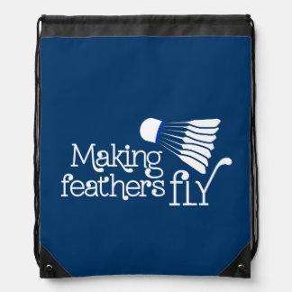 Badminton feather fly sports blue drawstring bag