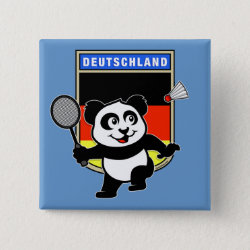 Square Button with German Badminton Panda design