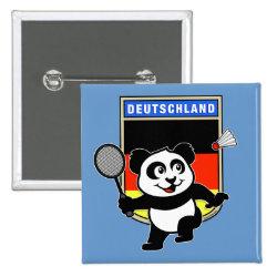 Square Button with German Badminton Panda design