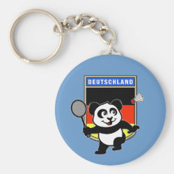 Basic Button Keychain with German Badminton Panda design